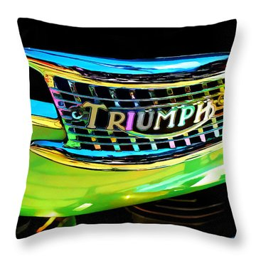 The Triumph Petrol Tank Throw Pillow by Steve Taylor
