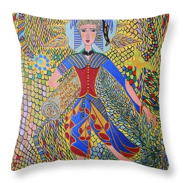 Throw Pillow featuring the painting The True About Mary Magdalene by Marie Schwarzer