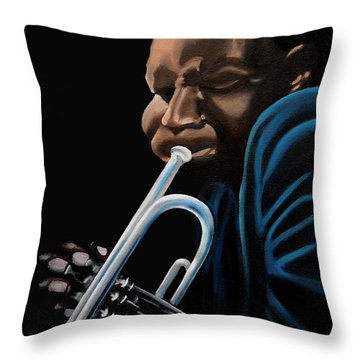Throw Pillow featuring the painting The Trumpeter by Barbara McMahon
