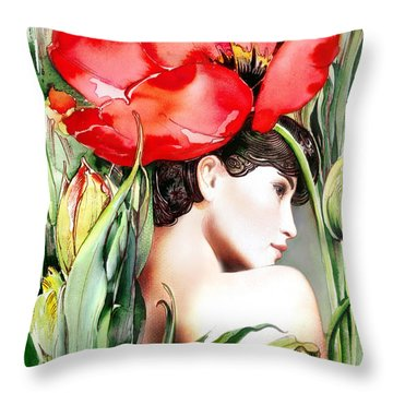 Throw Pillow featuring the painting The Tulip by Anna Ewa Miarczynska