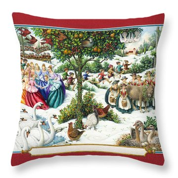 The Twelve Days Of Christmas Throw Pillow
