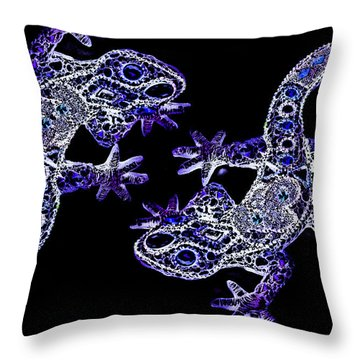 The Two Lizards Blue Throw Pillow by Selke Boris
