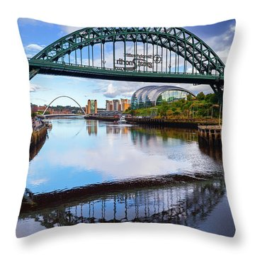 The Tyne Road Bridge With The Sage Throw Pillow