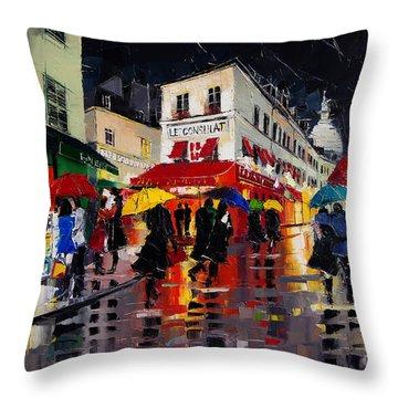 The Umbrellas Of Montmartre Throw Pillow
