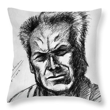 Throw Pillow featuring the painting Clint Eastwood by Salman Ravish