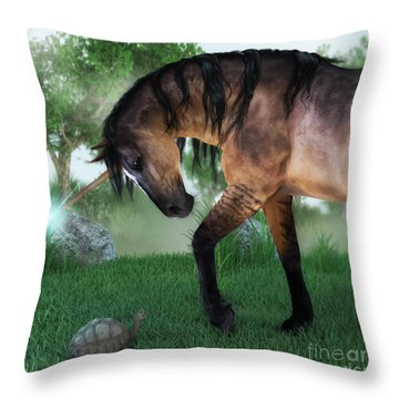 The Unicorn And The Tortoise Throw Pillow