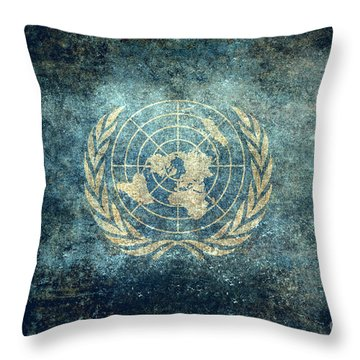 The United Nations Flag  Vintage Version Throw Pillow