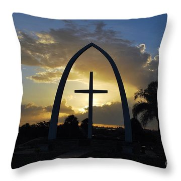 The Universal Cross At Sunrise Throw Pillow by Bob Sample