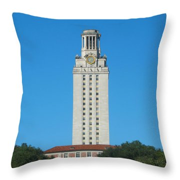 The University Of Texas Tower Throw Pillow by Connie Fox