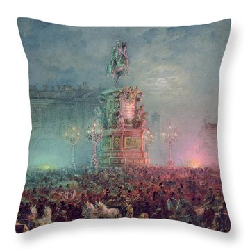 The Unveiling Of The Nicholas I Memorial In St. Petersburg Throw Pillow by Vasili Semenovich Sadovnikov