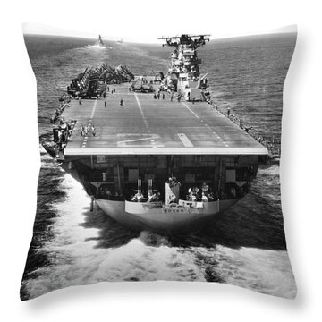 The U.s. Aircraft Carrier Uss Boxer Throw Pillow