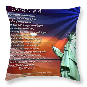 The Usa Statue Of Liberty Poetry Art Poster Throw Pillow by Stanley Mathis