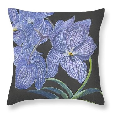Throw Pillow featuring the painting The Vanda Orchid by Carol Wisniewski