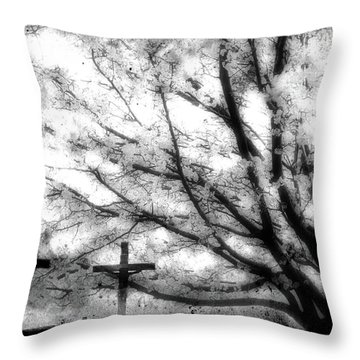 Throw Pillow featuring the painting The Veil Was Torn by Gray  Artus