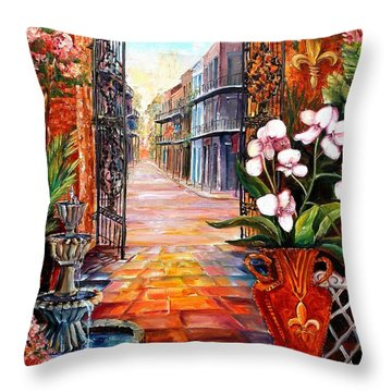 The View From A Courtyard Throw Pillow by Diane Millsap