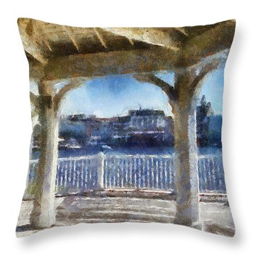 The View From The Boardwalk Gazebo Wdw 02 Photo Art Throw Pillow by Thomas Woolworth