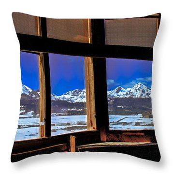 The View From The Sawtooth Valley Meditation Chapel Throw Pillow by Robert Bales