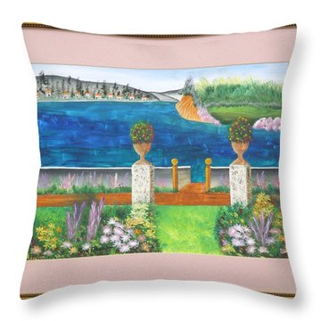 Throw Pillow featuring the painting The Villa by Ron Davidson