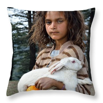 The Village Girl Throw Pillow by Fotosas Photography