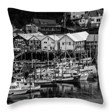 The Village Pier Throw Pillow by Melinda Ledsome