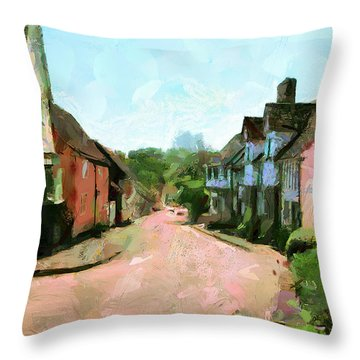 Throw Pillow featuring the painting The Village by Wayne Pascall