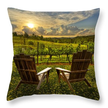 Throw Pillow featuring the photograph The Vineyard   by Debra and Dave Vanderlaan