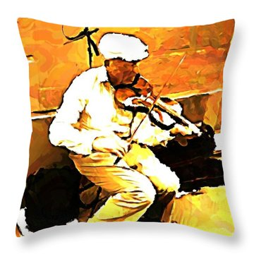 The Violenist Throw Pillow by John Malone