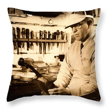 The Violin Maker Throw Pillow
