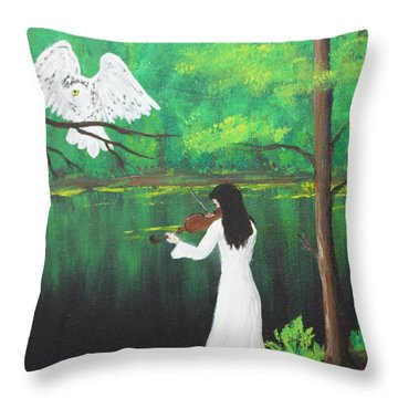 The Violinist By The River   Throw Pillow by Patricia Olson