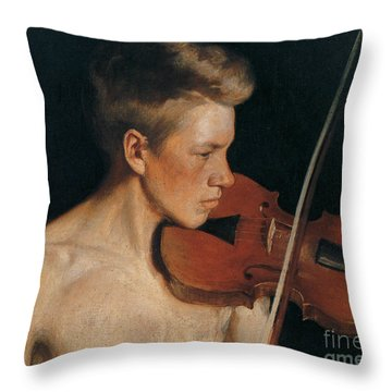 The Violinist Throw Pillow