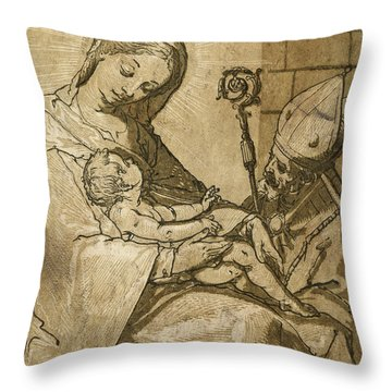 The Virgin And Child Throw Pillow by Aged Pixel