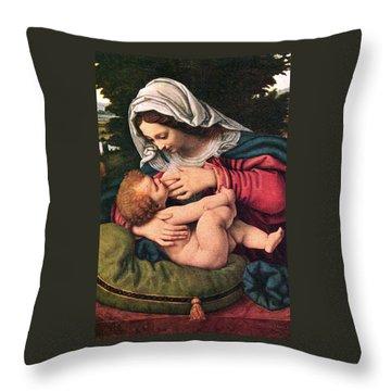 The Virgin And The Green Cushion Throw Pillow by Munir Alawi