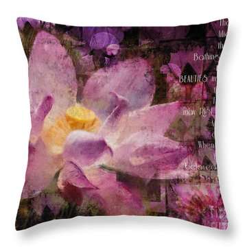 Throw Pillow featuring the digital art Those Virgin Lilies - Moore Quote  by Nola Lee Kelsey