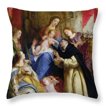 The Virgin Offering The Rosary To St. Dominic Throw Pillow