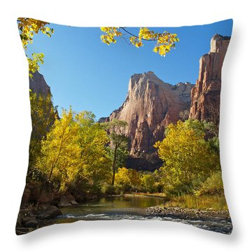 The Virgin River And The Court Of The Patriarchs Throw Pillow by Alex Cassels