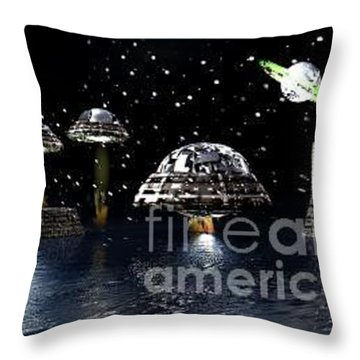 Throw Pillow featuring the digital art The Visit by Jacqueline Lloyd