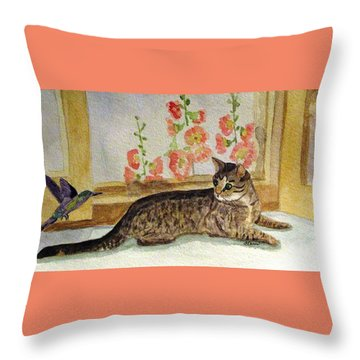 Throw Pillow featuring the painting The Visitor by Angela Davies