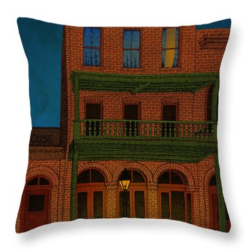 Throw Pillow featuring the drawing The Visitor by Meg Shearer