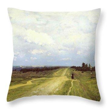 The Vladimirka Road Throw Pillow by Isaak Ilyich Levitan
