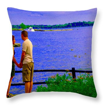 The Vow Lovers Forever By The Lake Summer Romance St Lawrence Shoreline Scenes Carole Spandau Art Throw Pillow by Carole Spandau
