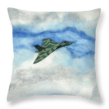 Throw Pillow featuring the painting The Vulcan Bomber by John Williams