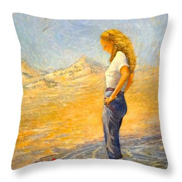 Throw Pillow featuring the painting The Waders  by Charles Munn