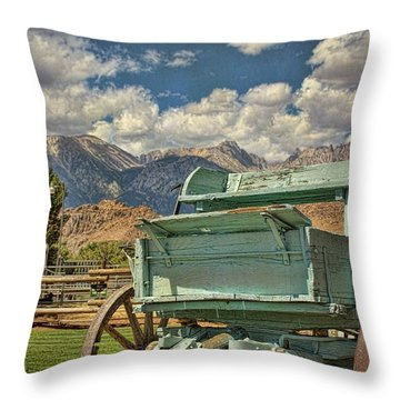 The Wagon Throw Pillow by Peggy Hughes