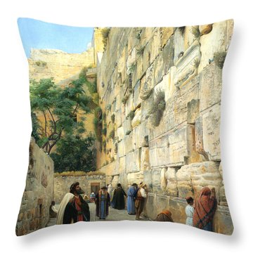 The Wailing Wall Jerusalem Throw Pillow