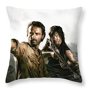 Throw Pillow featuring the painting The Walking Dead Artwork 1 by Sheraz A