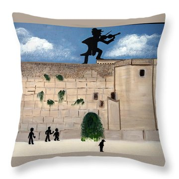 Throw Pillow featuring the painting The  Western Wall And Fiddler On The Roof by Nora Shepley