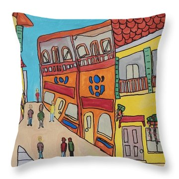 Throw Pillow featuring the painting The Walled City by Artists With Autism Inc