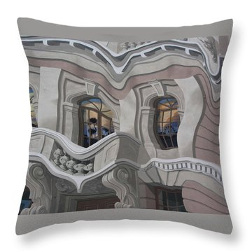 Throw Pillow featuring the photograph The Walls Are Coming Down by Natalie Ortiz