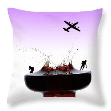 The War On A Cocktail Cup Little People On Food Throw Pillow by Paul Ge