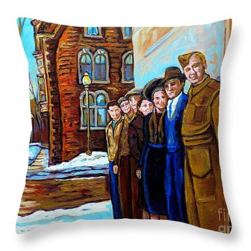 The War Years 1942 Montreal St Mathieu And De Maisonneuve Street Scene Canadian Art Carole Spandau Throw Pillow